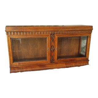 1930's Vintage Carved Oak Tabletop Wall Cabinet For Sale