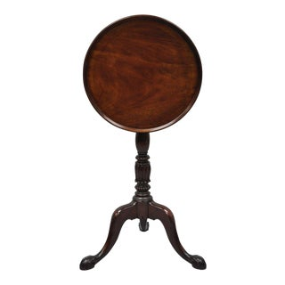 Chippendale Style Mahogany Carved Ball and Claw Tilt Top Side Table Candle Stand