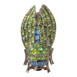 "Large 3-3/8"" Cicada Multi-Color Brooch For Sale"