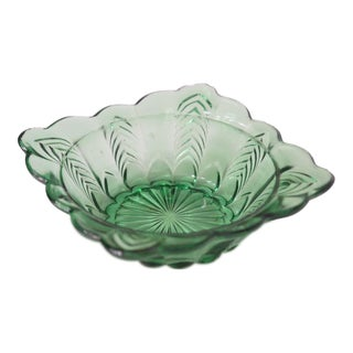Mid-Century Green Glass Ashtray For Sale