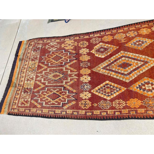 Large handwoven vintage Moroccan Berber Tribal kilim rug, nicely aged with vivid colors. Hand-woven vintage Berber...