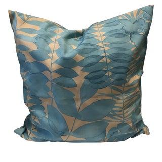 Blue Floral Decorative Throw Pillow