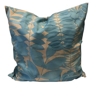 Loom and Mill Decorative Throw Pillow Blue Leaf For Sale