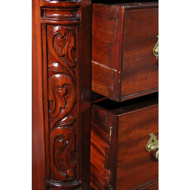 Chippendale Style Pair Carved Mahogany Ball & Claw Foot Lowboys For Sale - Image 10 of 13