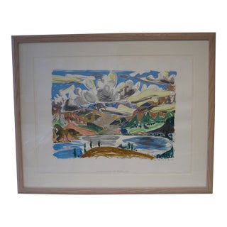 Watercolor 'Breaking Clouds Over Jasper Lake'