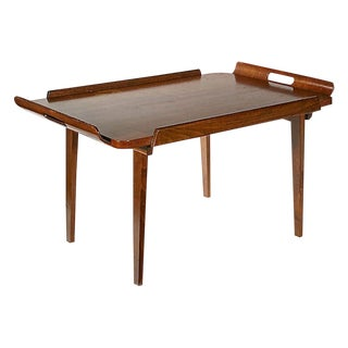 1950s Walnut Wood Tray Table For Sale