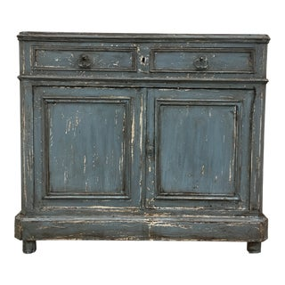 19th C French Louis Philippe Painted Walnut Sideboard Credenza For Sale