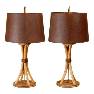 Surviving Pair of Rattan Lamps in the Style of Paul Frankl For Sale