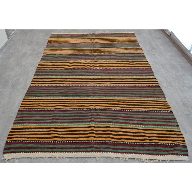 Hand-Woven Kilim Rug Striped Area Rug - 5′11″ X 9′8″ - Image 3 of 8