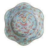 Image of Chinese Baby Blue Peking Enamel Dragon Bowl For Sale