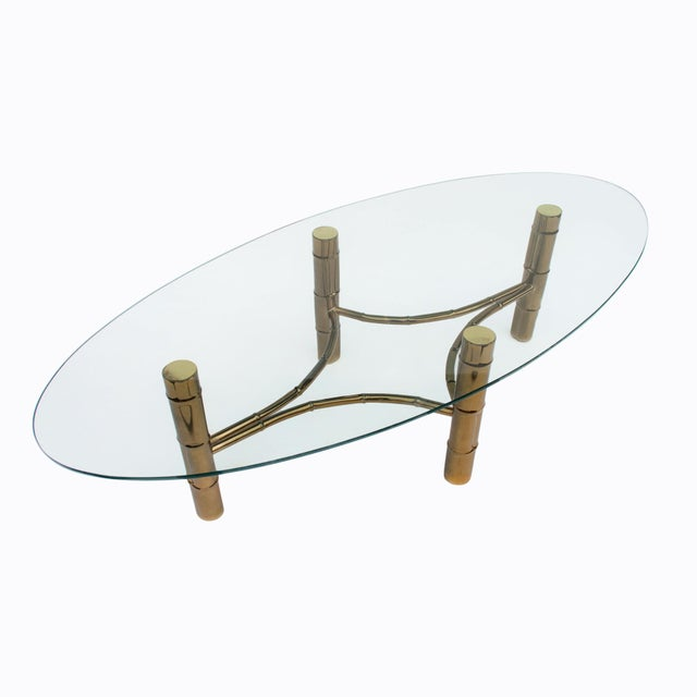 1960s Hollywood Regency Brass Faux Bamboo Oval Coffee Table For Sale - Image 5 of 8