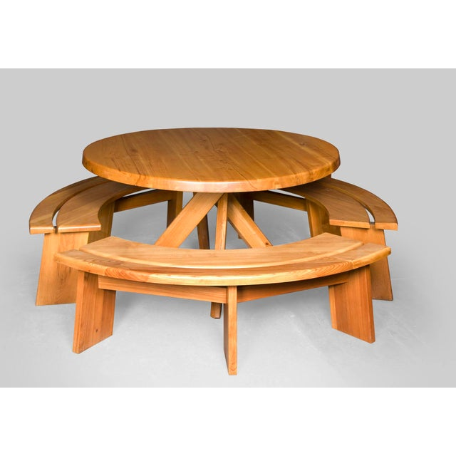 Pierre Chapo Elm Dinig Table and 3 Benches For Sale - Image 9 of 10