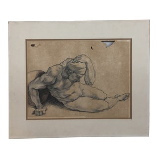 Vintage Mid-Century Signed Figure Drawing For Sale