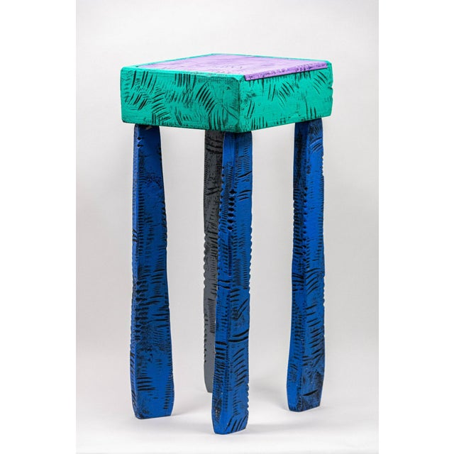 """Handcrafted wooden accent table, signed to underside and dated """"1991"""". ARTIST: Wayne Norton CONDITION: Good, legs are..."""
