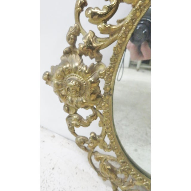 Victorian Style Brass Wall Mirror For Sale - Image 4 of 6