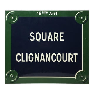 French Paris Paint Enameled Vintage Street Sign 'Square Clignancourt' For Sale