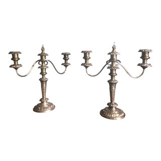 Vintage 1960s Birks Silver Plate Two Arm Candelabra - A Pair For Sale