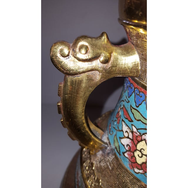 Vintage Japanese Cloisonne Brass and Hand Painted Enamel Double Handle Vase For Sale - Image 4 of 8
