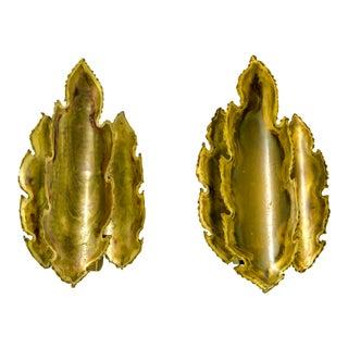 Brutalist Brass Flame Leaf Sconces - a Pair For Sale