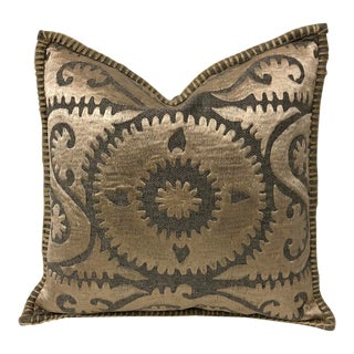 Modern Bohemian Wool Suzani Embroidered Pillow For Sale