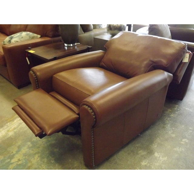 Brown Leather Swivel Recliner With Nailhead Trim - Image 4 of 5