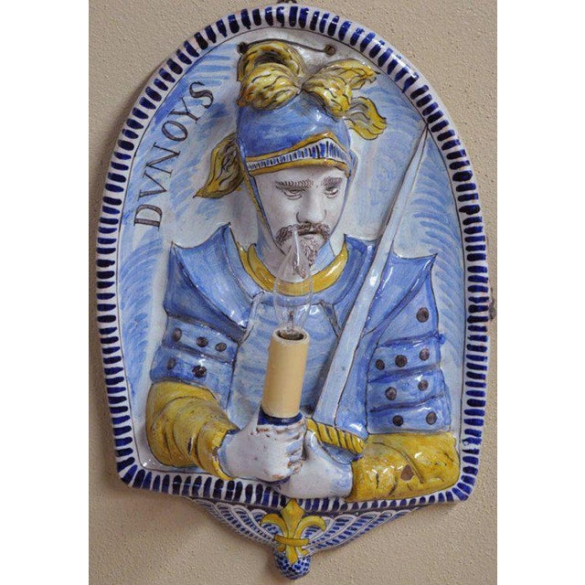 19th Century French Joan of Arc & Duc d'Orleans Faience Sconces - A Pair For Sale - Image 10 of 10