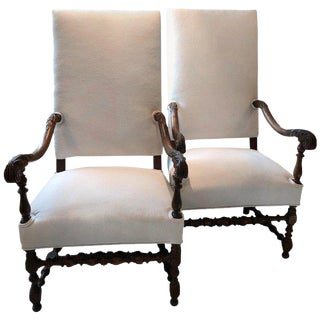 French Carved Walnut Regal Dining Armchairs - a Pair For Sale