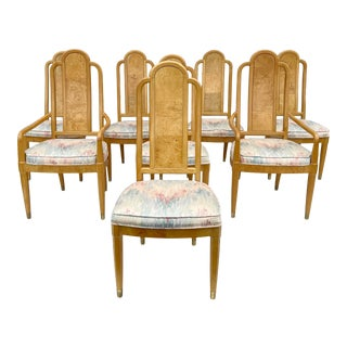 Vintage Modern Burlwood Dining Chairs- Set of Eight For Sale