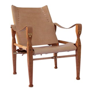 Bespoke Nude Leather Safari Lounge Chair For Sale