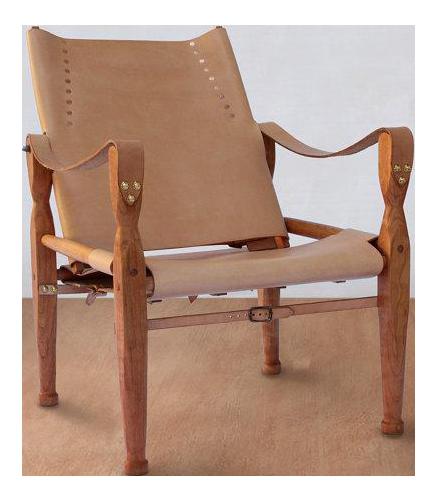 Bespoke Nude Leather Safari Lounge Chair