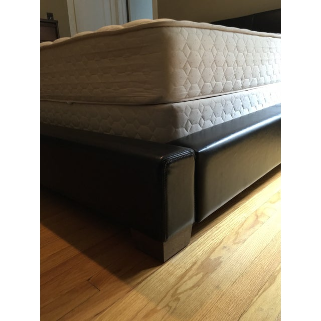 Black Leather Step-Up Queen Bed - Image 4 of 5