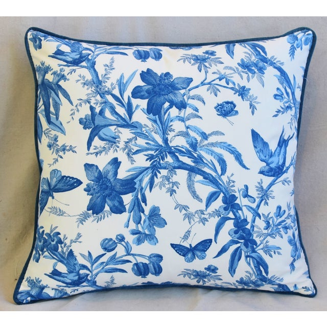 Large custom-tailored pillow in unused P. Kaufmann printed cotton fabric depicting a beautiful design of birds,...