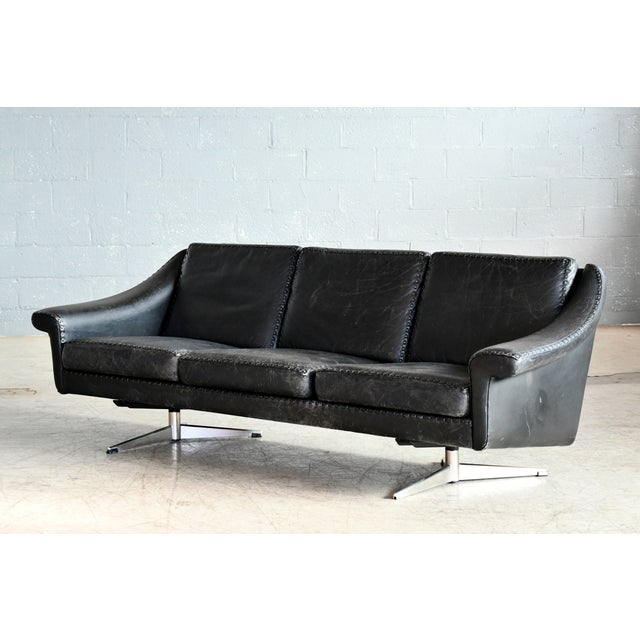 Danish Airport Style Sofa Model Matador in Black Leather by Eran in 1966 For Sale - Image 13 of 13
