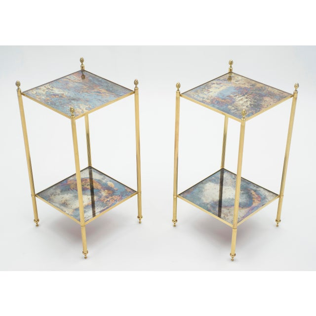 1960s Pair of French Maison Jansen Brass Mirrored Two-Tier End Tables 1960s For Sale - Image 5 of 13