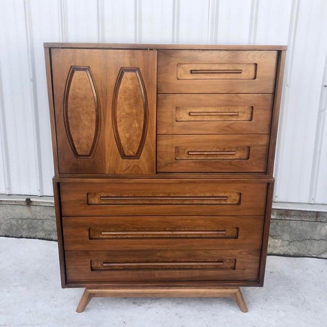 Mid-Century Modern Sliding Front Highboy Dresser For Sale - Image 13 of 13