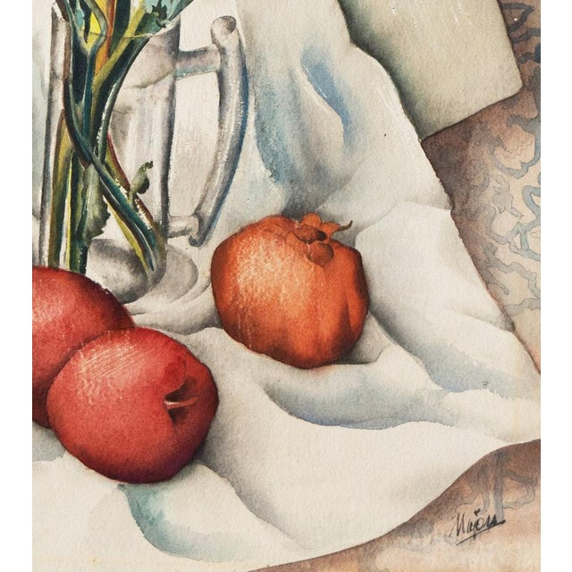 Vintage Mid-Century Still Life With Flowers and Pomegranate Painting For Sale - Image 9 of 12