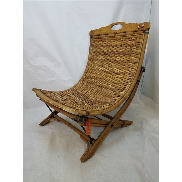 Boho Chic Vintage Rattan Sling Chair With Ottoman For Sale - Image 3 of 8