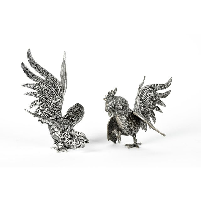 Silver Pair of English Silver Plate Roosters For Sale - Image 8 of 8