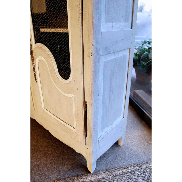 French Provincial Louis XV Style Grey Painted Armoire For Sale - Image 4 of 10