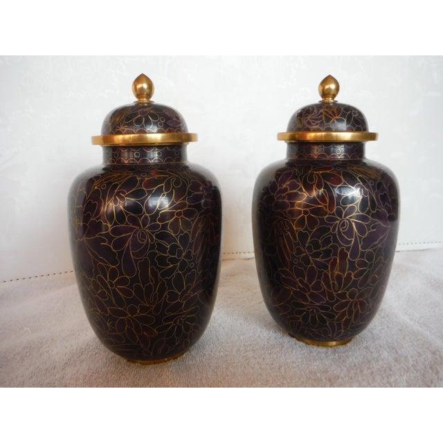 Purple & Gold Cloisonné Ginger Jars - a Pair - Image 6 of 7