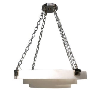 Small Art Deco Style Alabaster Chandelier, Style of Ruhlmann For Sale