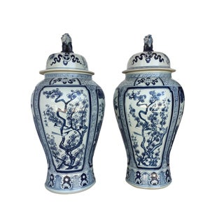 "35.5"" H Mansion Size Chinoiserie B & W Porcelain Ginger Jars - a Pair"