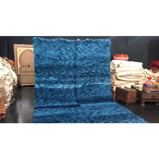 Islamic Custom Made Blue Beni Ourain Moroccan Rug - 8′ × 13′ For Sale - Image 3 of 4