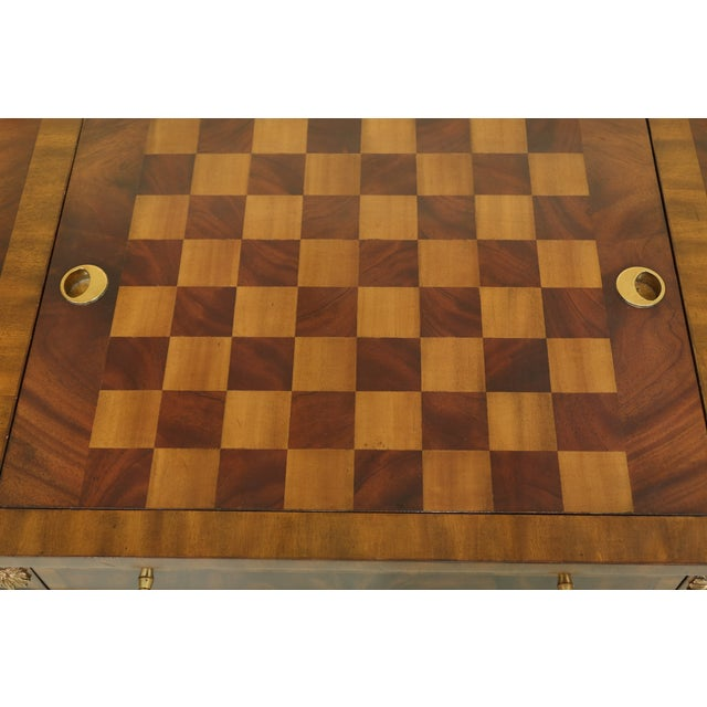 Traditional Maitland Smith Checkerboard Reversible Top Mahogany Games Table For Sale - Image 3 of 13