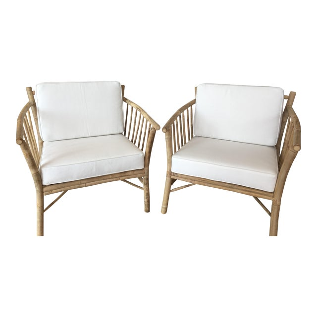 Bamboo Club Chairs - A Pair - Image 1 of 6