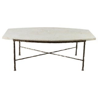 Paul Marra Ellipse Cocktail Table in Textured Gold Iron and Coral Stone For Sale