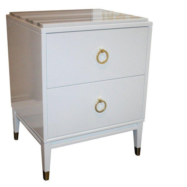 Customizable Spencer Marble-Top Night Tables For Sale - Image 4 of 7