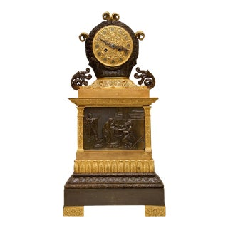 French Empire Patinated and Gilt Bronze Clock For Sale