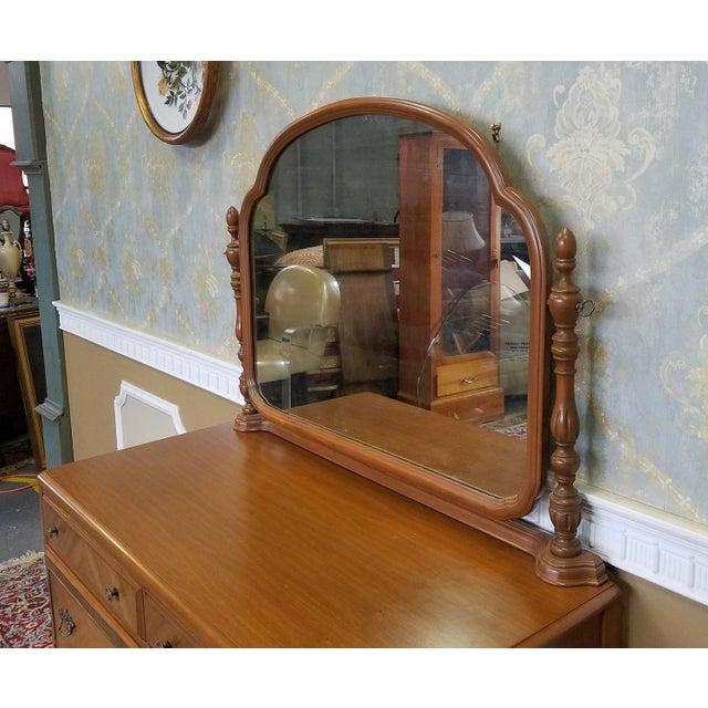 1930s Post Art Deco Walnut Bedroom 4 Drawer Dresser With Swivel