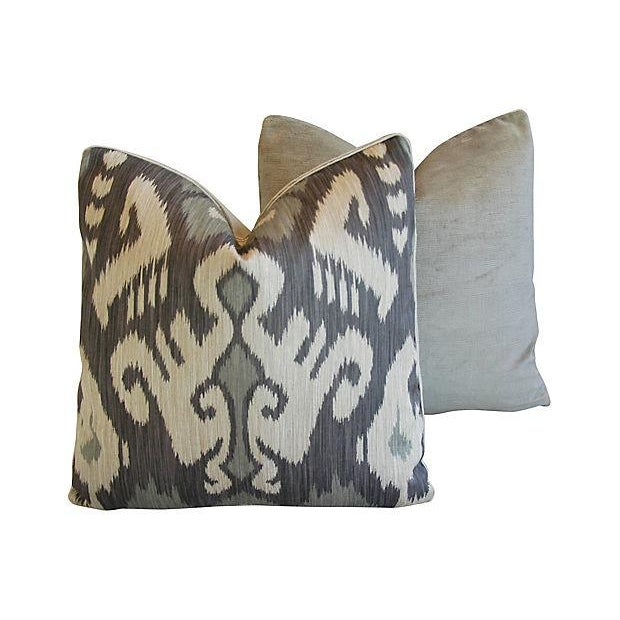 Custom Tailored Castel Gray/Taupe Radha Ikat Feather/Down Pillows - Pair For Sale In Los Angeles - Image 6 of 7